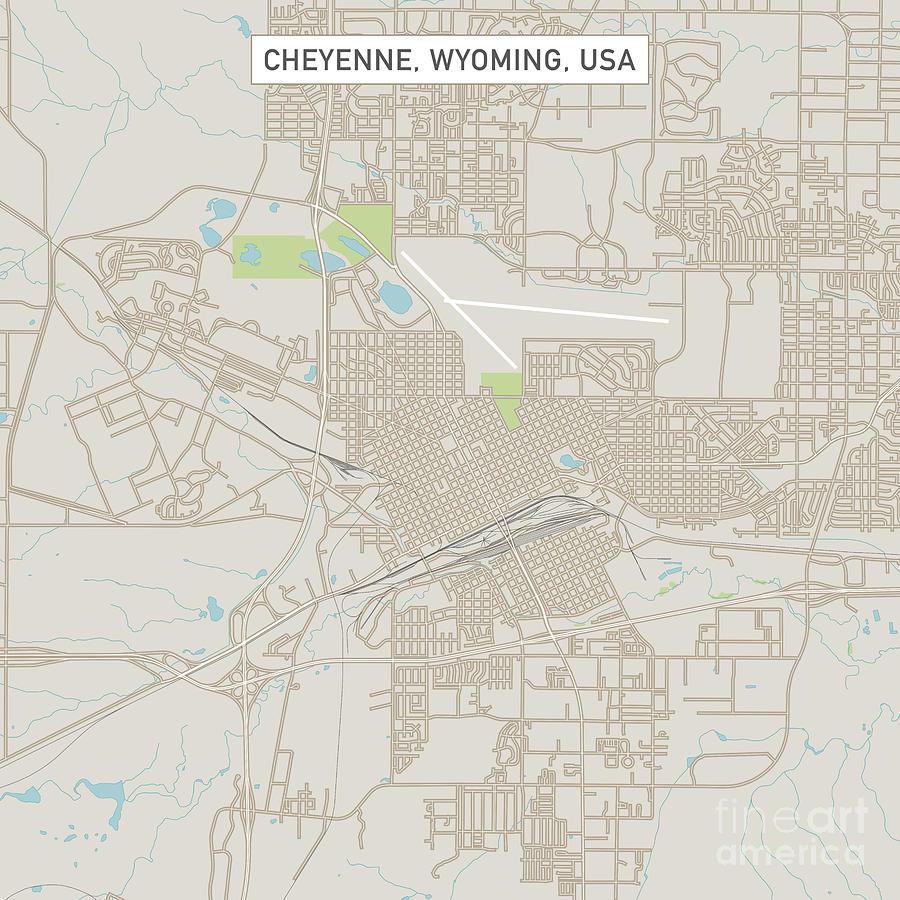 Cheyenne Wyoming Us City Street Map Digital Art by Frank Ramspott on