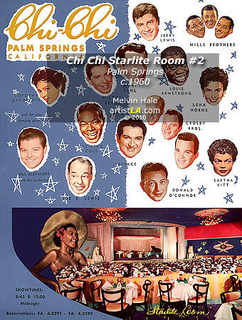 Painting Painting - Chi Chi Starlite Room C1960 Palm Canyon Drive In Palm Springs  by Melvin Hale ArtistLA