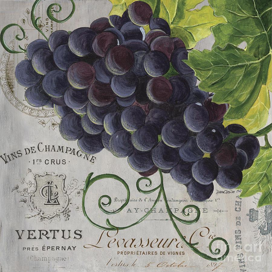 Grapes Painting - Vins De Champagne 2 by Debbie DeWitt