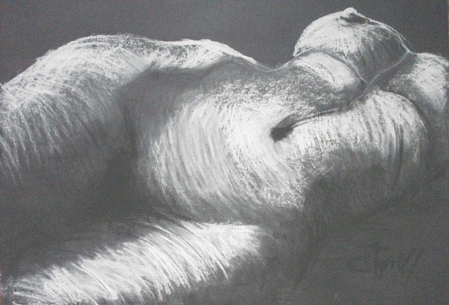 Original Drawing - Chiaroscuro - Torso by Carmen Tyrrell