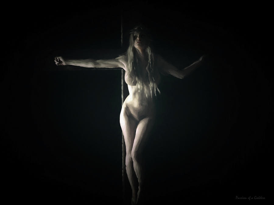 Chiaroscuro Digital Art - Chiaroscuro Crucifix by Ramon Martinez