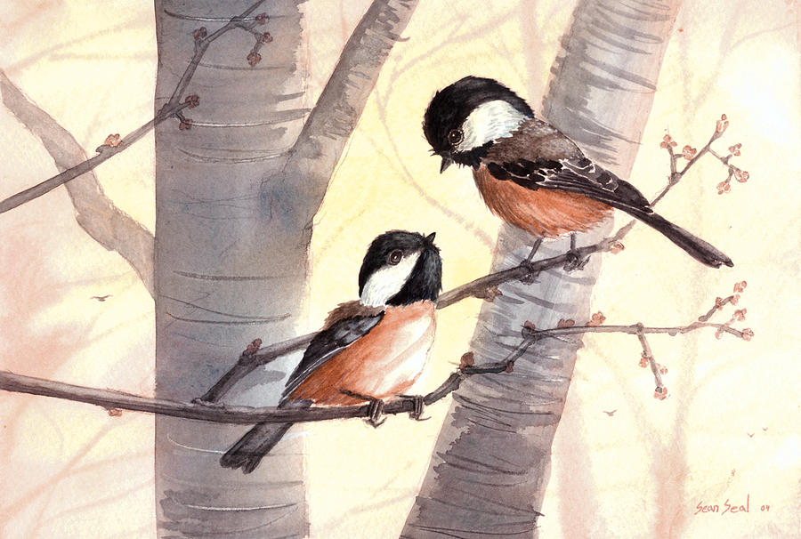Birds Painting - Chic Chat by Sean Seal