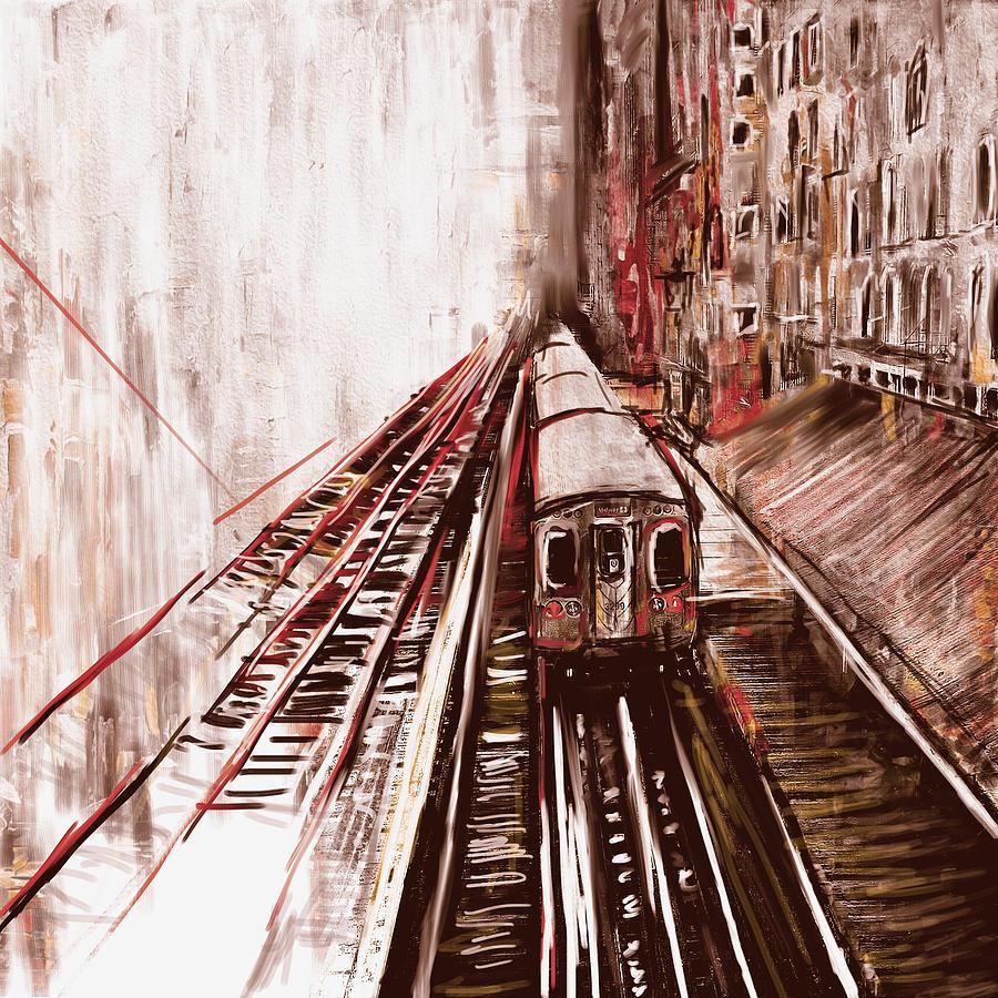 New York Skyline Painting - Chicago 214 3 by Mawra Tahreem