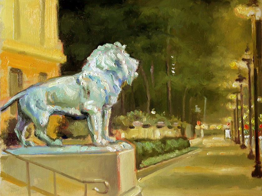 Landscape Painting - Chicago Art Institute Nocturne Plein Air by Larry Seiler