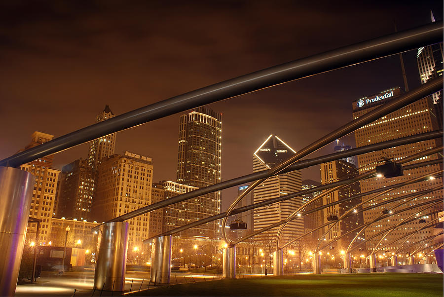 Hdr Photograph - Chicago At Night by Andreas Freund