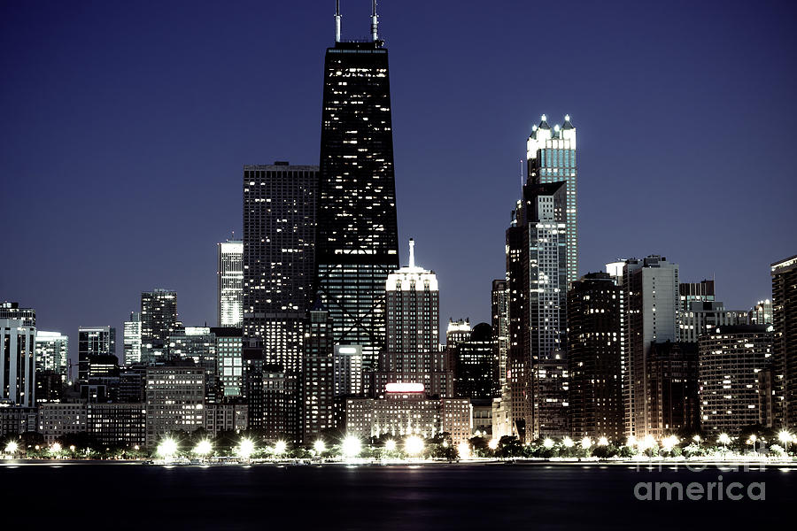 America Photograph - Chicago At Night High Resolution by Paul Velgos