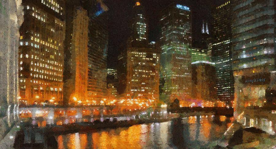 Chicago Painting - Chicago At Night by Jeff Kolker