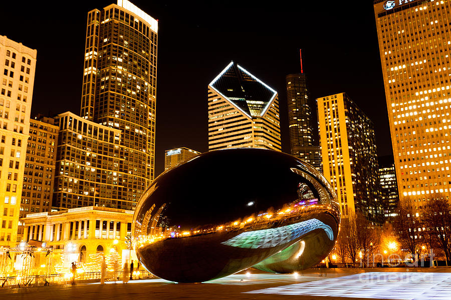 chicago bean cloud gate at night photograph by paul velgos
