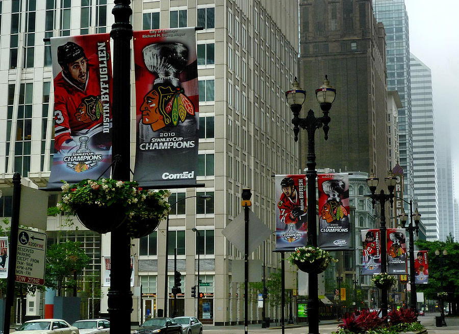 Stanley Cup Champions Photograph - Chicago Blackhawk Flags by Ely Arsha