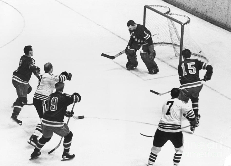 Chicago Blackhawks Bobby Hull Scores On Rangers Ed Giacomin. 1966 Photograph by William Jacobellis