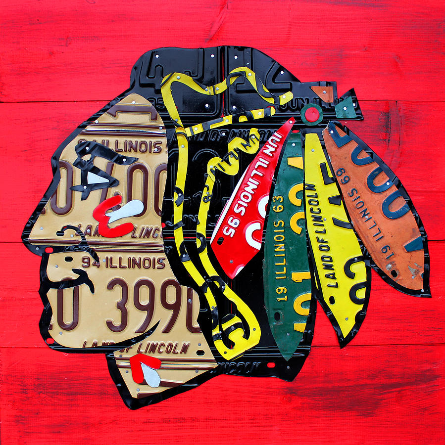 Chicago Mixed Media - Chicago Blackhawks Hockey Team Vintage Logo Made From Old Recycled Illinois License Plates Red by Design Turnpike
