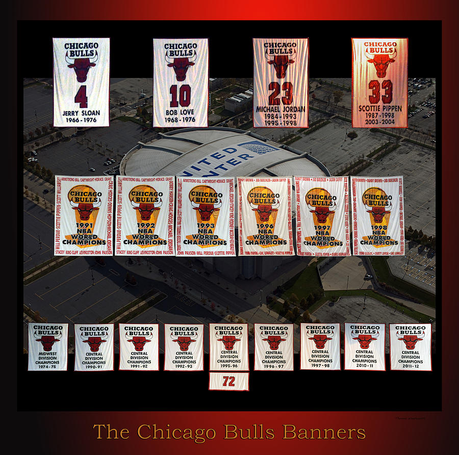 Chicago Bulls Mixed Media - Chicago Bulls Banners Collage by Thomas Woolworth