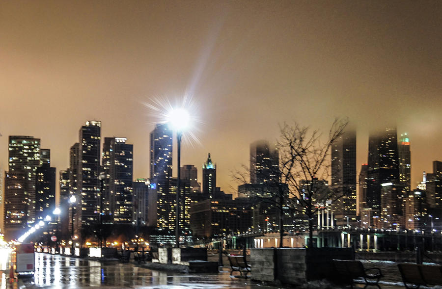 Chicago Photograph - Chicago City At Night by Art Spectrum