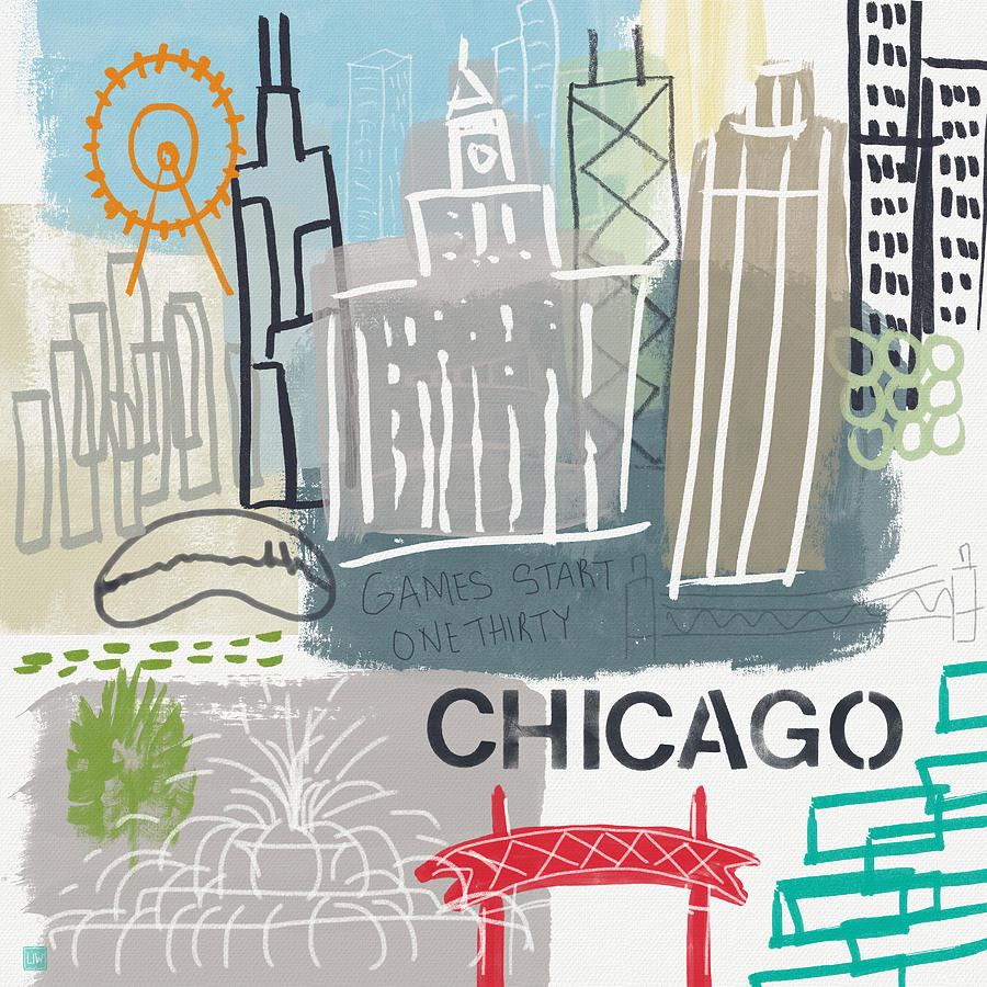 Chicago Painting - Chicago Cityscape- Art By Linda Woods by Linda Woods