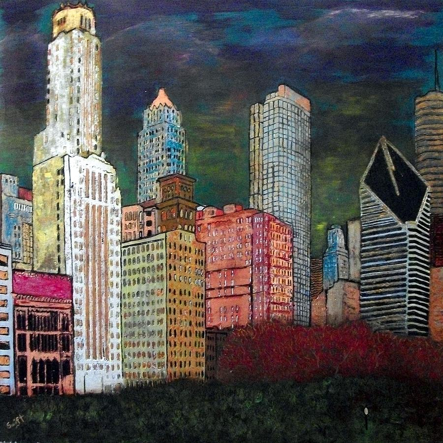 Chicago Painting - Chicago Cityscape by Char Swift