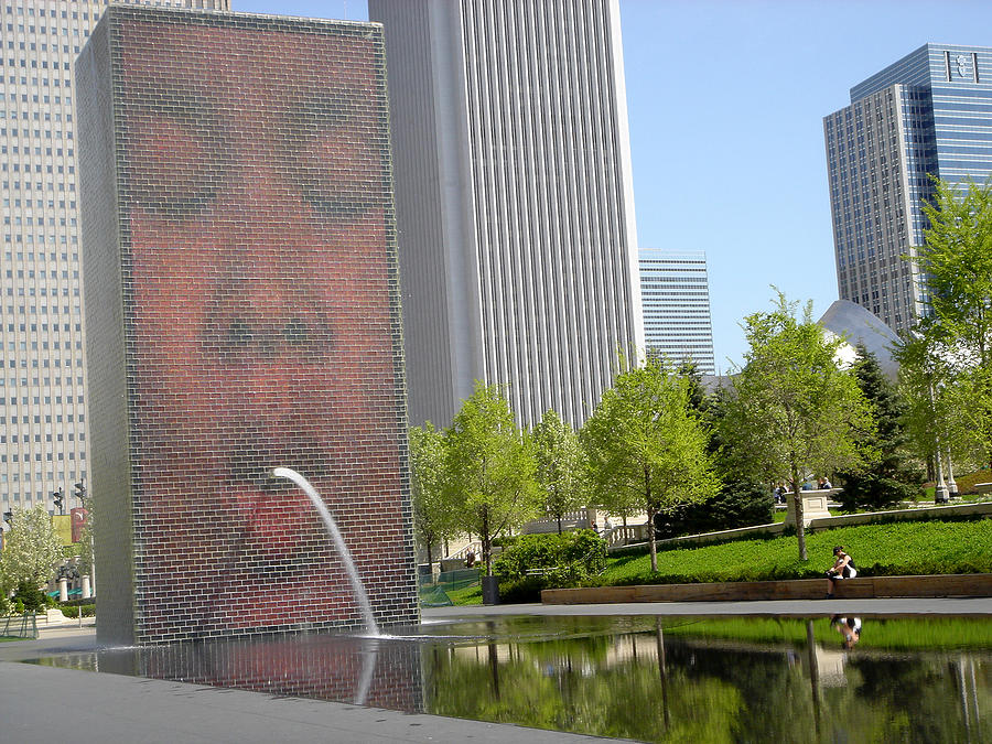 Chicago Photograph - Chicago Crown Fountain 8 by Jean Macaluso