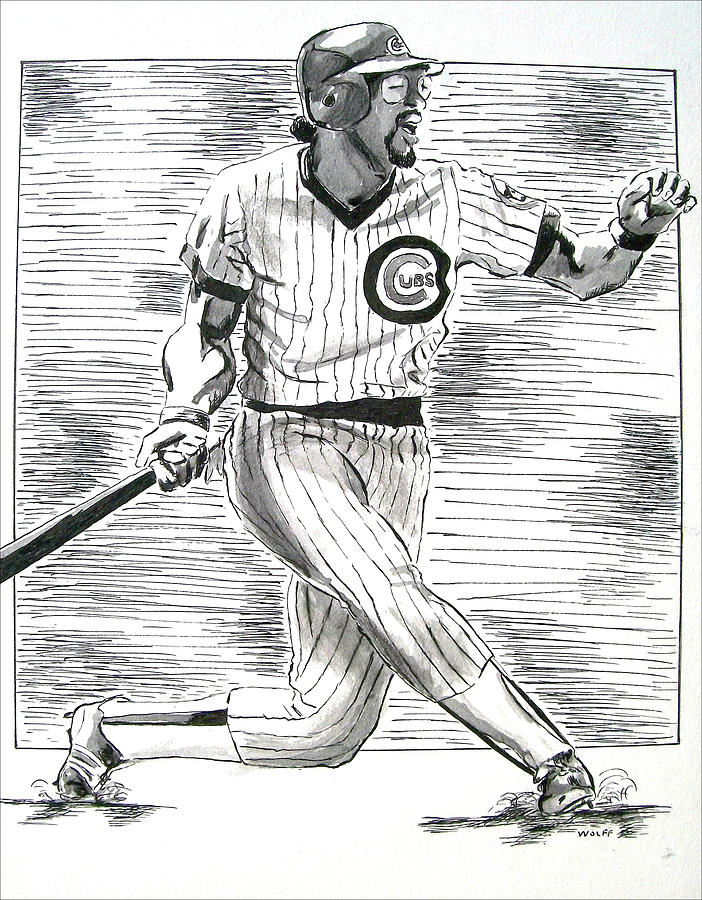 Chicago Cubs Drawing - Chicago Cub Leon Durham by Vincent Wolff