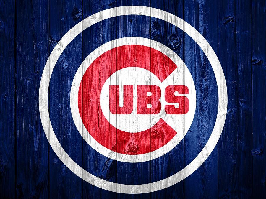Chicago Cubs Barn Door Mixed Media