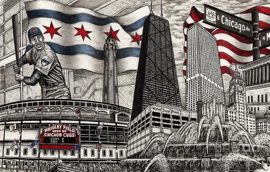 Chicago Cubs, Ernie Banks, Wrigley Field by Omoro Rahim