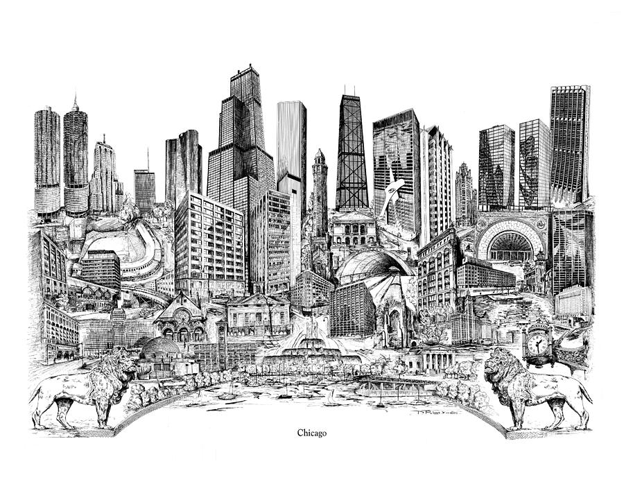Chicago Drawing - Chicago by Dennis Bivens