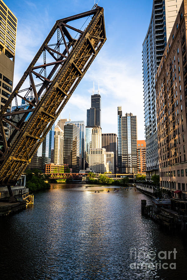 America Photograph - Chicago Downtown and Kinzie Street Railroad Bridge by Paul Velgos