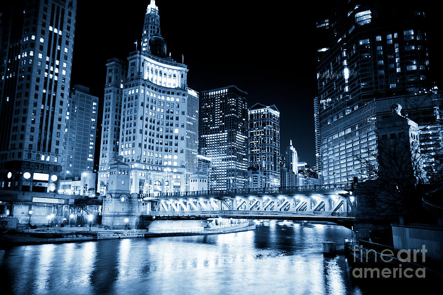 America Photograph - Chicago Downtown Loop At Night by Paul Velgos