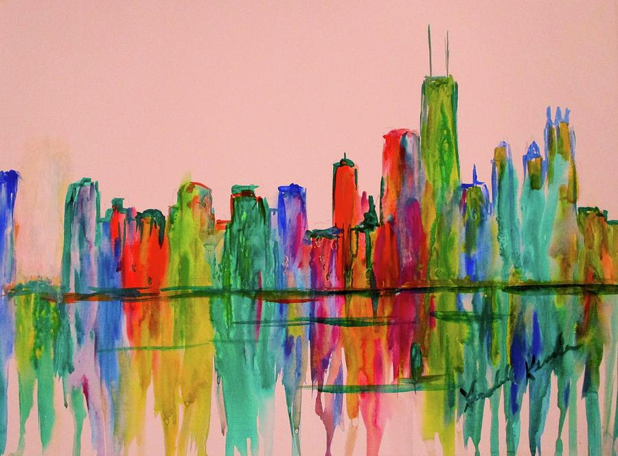 Blue Painting - Chicago Flow  by Kendall Kessler