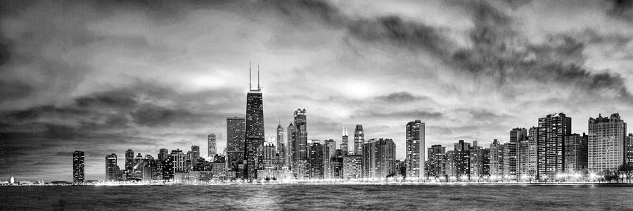 Chicago painting chicago gotham city skyline black and white panorama by christopher arndt