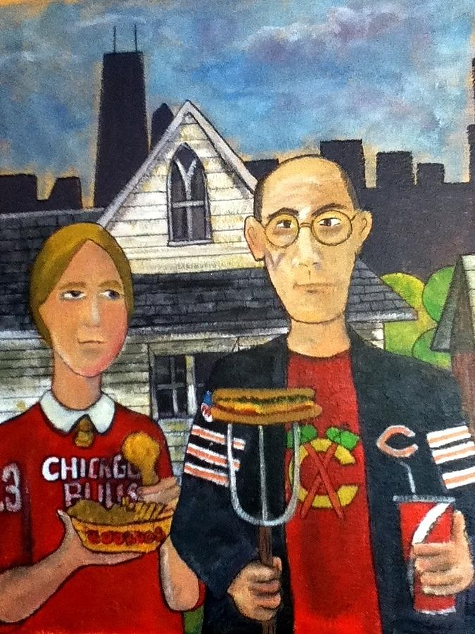 American Gothic Painting - Chicago Gothic by Richard  Hubal
