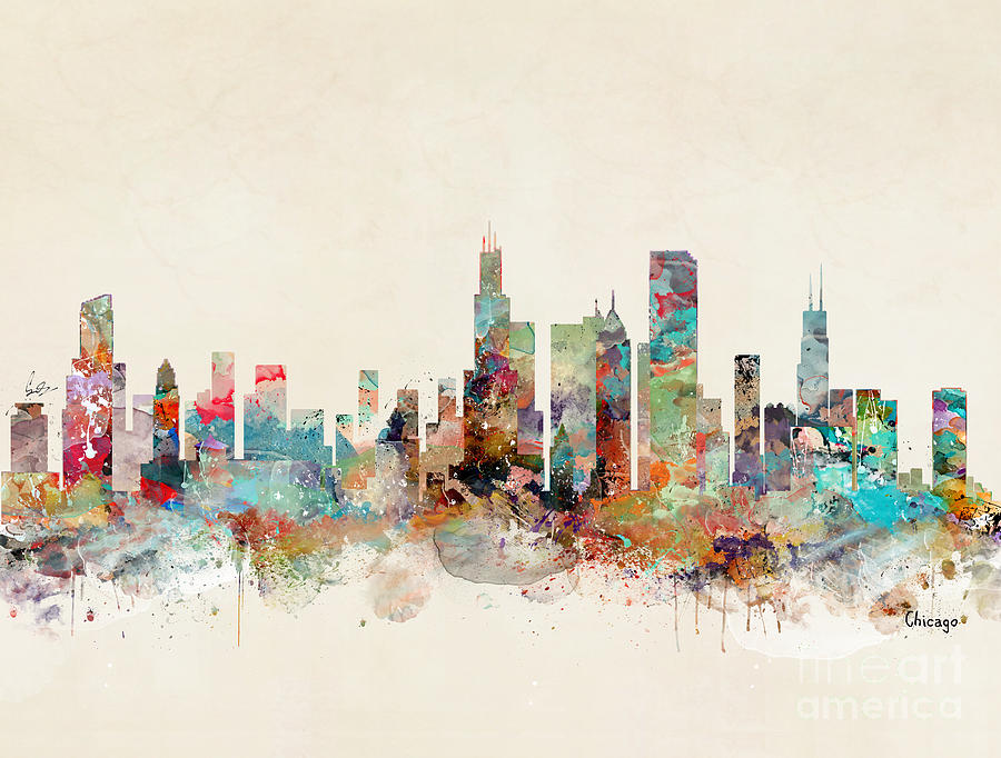 Chicago City Skyline Painting - Chicago Illinois by Bri Buckley
