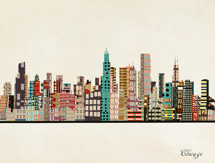 Chicago Painting - Chicago Illinois Skyline by Bri Buckley
