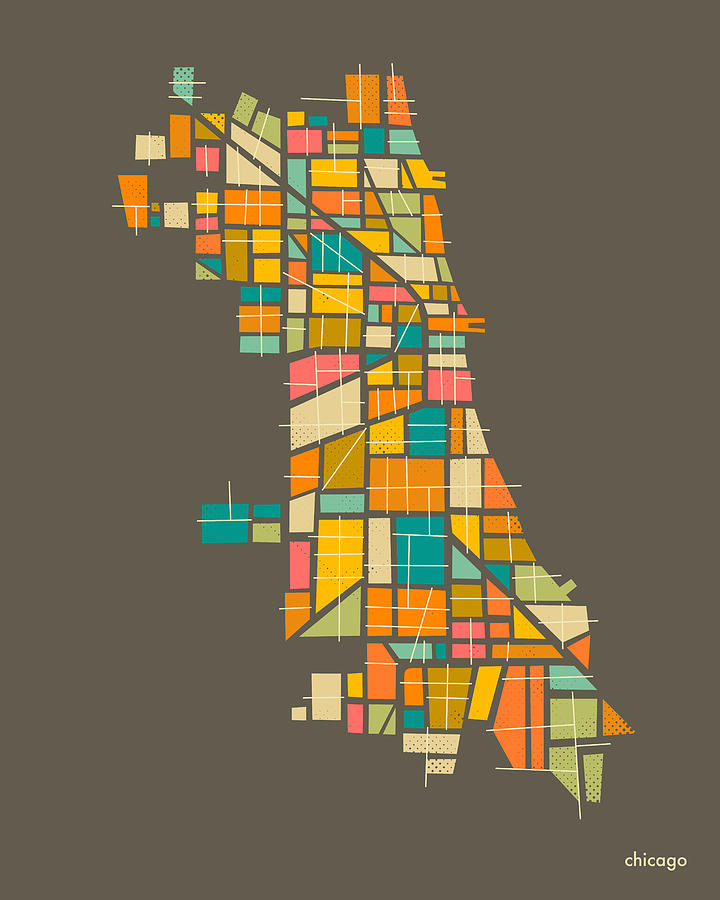 Chicago Map Digital Art - Chicago by Jazzberry Blue