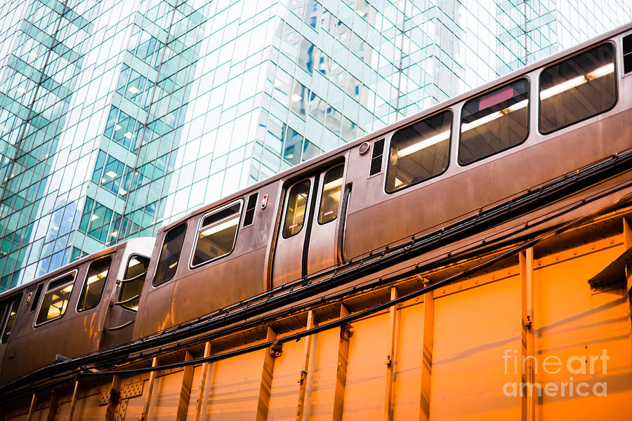 Chicago L Elevated Train Photograph