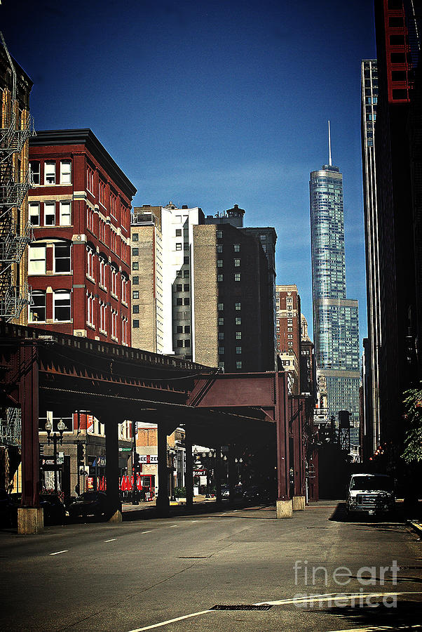 Architecture Photograph - Chicago L Between the Walls by Frank J Casella