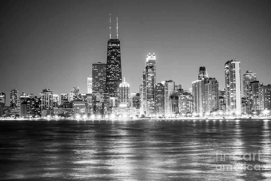 2012 Photograph - Chicago Lakefront Skyline Black and White Photo by Paul Velgos