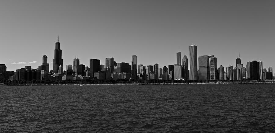 Black And White Photograph - Chicago Lakeshore Skyline by Miranda  Miranda