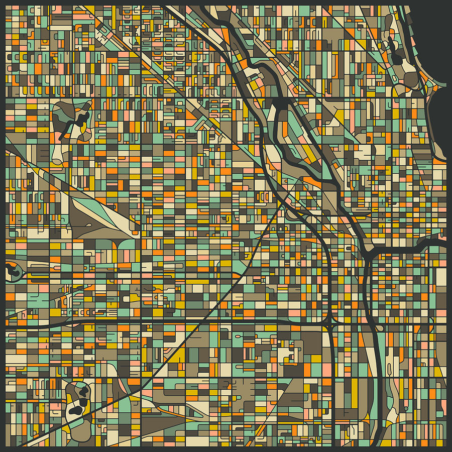 Chicago Map Digital Art - Chicago Map by Jazzberry Blue