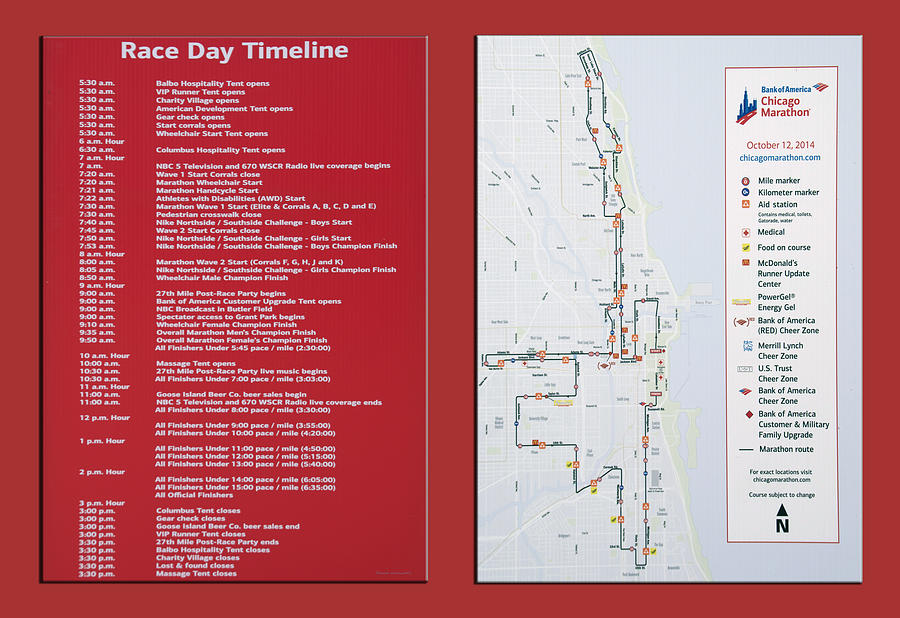 Chicago Marathon Race Day Timeline And Map 2014 Photograph by