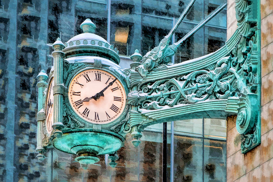 Chicago Painting - Chicago Marshall Field State Street Clock by Christopher Arndt