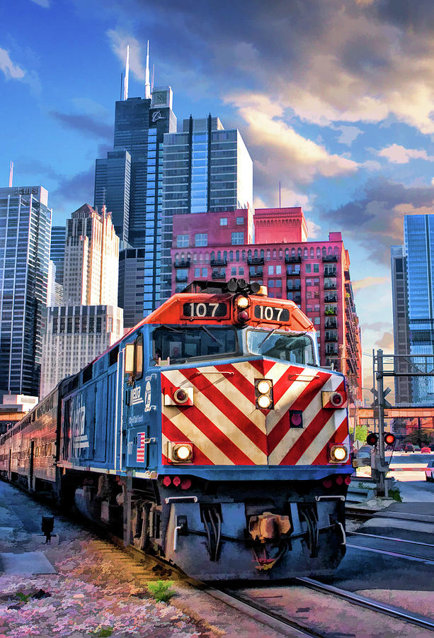 Chicago Metra Train Downtown Painting By Christopher Arndt