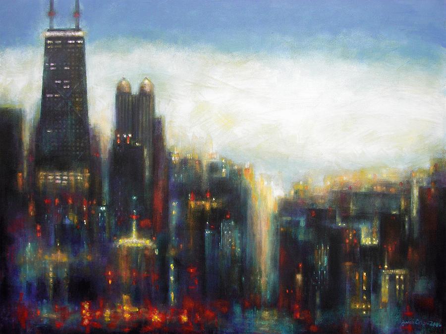 Chicago Painting - Chicago - Misty Morning by Joseph Catanzaro