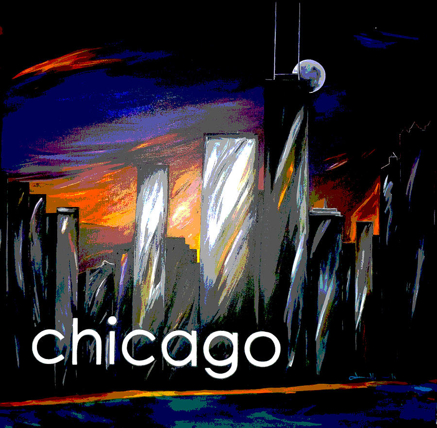 Chicago Painting - Chicago Night Skyline by Jean Habeck