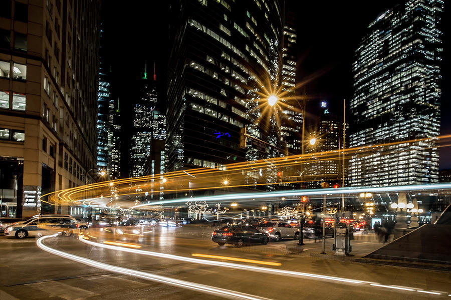 Chicago Photograph - Chicago Nighttime Time Exposure by Sven Brogren