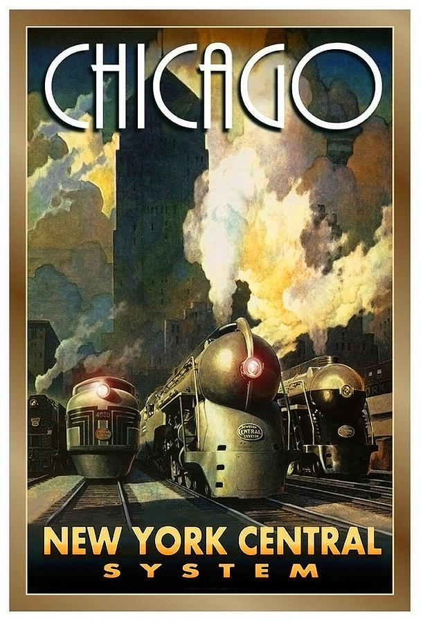 Chicago Painting - Chicago Railway, Steam Trains by Long Shot