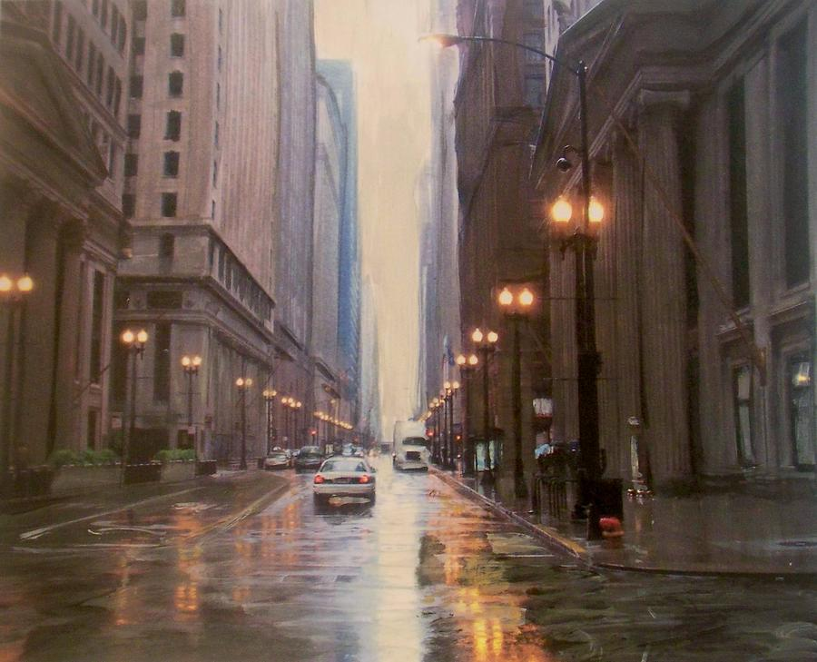 Chicago Painting - Chicago Rainy Street by Anita Burgermeister