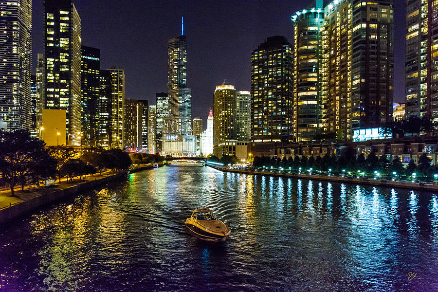 Chicago Photograph - Chicago River At Night by Pat Scanlon