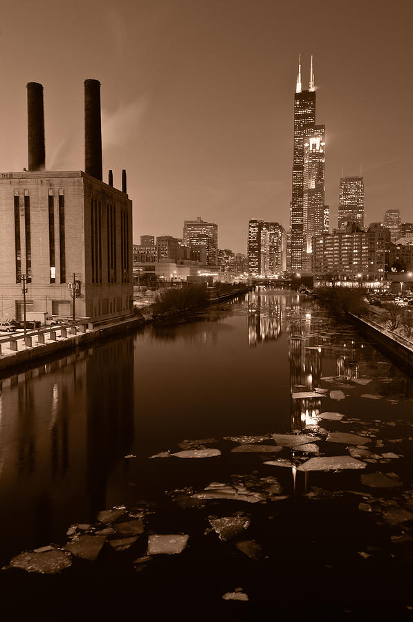 Chicago Photograph - Chicago River B And W by Steve Gadomski