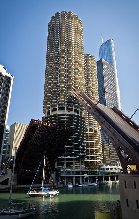 Chicago Photograph - Chicago River Bridge Lift At Marina Towers by Steve Gadomski