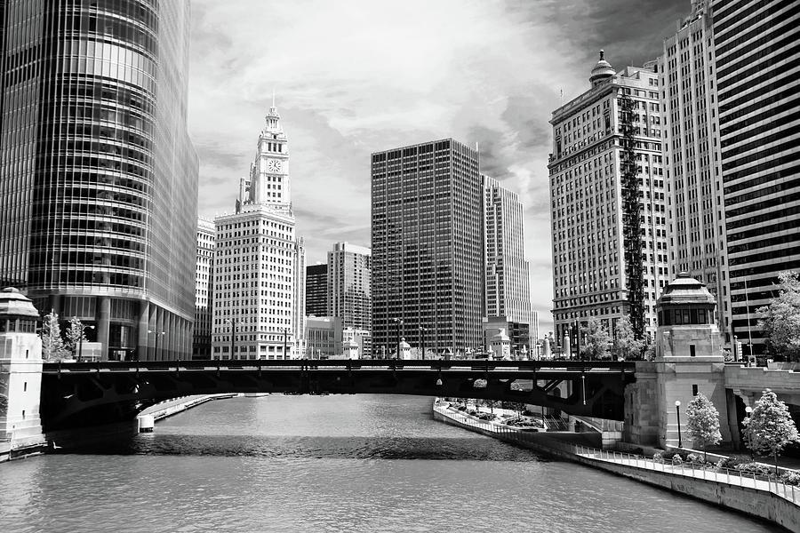 Bridge Photograph - Chicago River Buildings Skyline by Paul Velgos