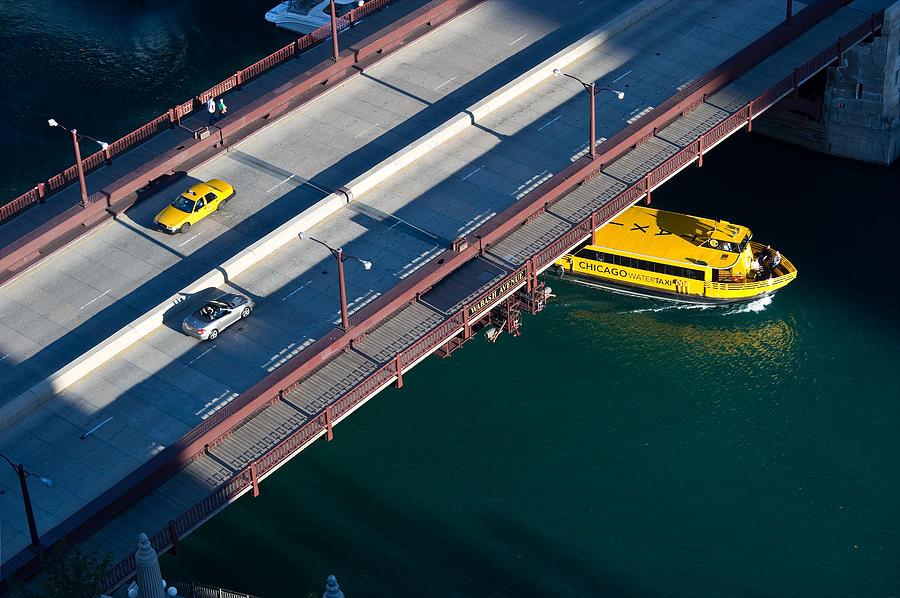 Boat Photograph - Chicago River Crossing by Steve Gadomski
